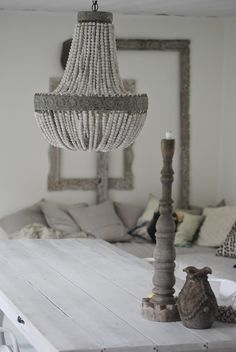 beaded shell chandelier via Chandelier Picture, Shell Chandelier, Beaded Chandelier, Chandeliers, Grey Interior Design, Home Interior, Interior Design Inspiration, Interior Decorating, Shabby Vintage