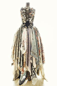 Display scarves as skirt on a dress form