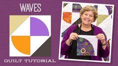 "Make a ""Waves"" Quilt with Jenny Doan of Missouri Star (Video Tutorial) Jenny Doan Tutorials, Msqc Tutorials, Quilting Tutorials, Quilting Designs, Quilting Projects, Layer Cake Quilts, Layer Cakes, Drunkards Path Quilt, Missouri Star Quilt Tutorials"
