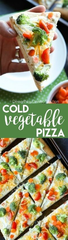 cold vegetable pizza is the ultimate party appetizer for summer potlucks. With a fresh baked crust, creamy ranch spread, and crunchy fresh veggies, everyone will be coming back for seconds! Potluck Recipes, Appetizer Recipes, Vegetarian Recipes, Cooking Recipes, Veggie Pizza Recipes, Cold Dishes For Potluck, Potluck Ideas, Party Recipes, Cooking Ideas