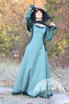 Robe de lin renaissance médiévale avec surcot et chaperon « Princesse de l'Automne » ArmStreet