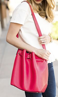 Buttery soft, slouchy coral bucket bag