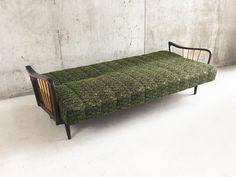 German Mid Century Sofa Bed with Original Green Upholstery Mid Century Sofa Bed, Mid Century Furniture, Retro Furniture, Antique Furniture, Sofas, Upholstery, German, Couch, The Originals