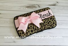 Custom Leopard Print with Bow  Diaper Wipes Case