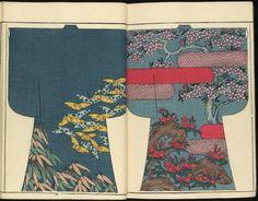 Moyo Hinagata Nanba no ume, 1886 Japanese Patterns, Japanese Prints, Japanese Design, Kimono Japan, Kimono Pattern, Vol 2, Japanese Paper, Vintage Kimono, Traditional Art