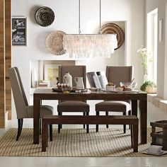 Really like this table set - Carroll Farm Dining Table from West Elm website.  Like the bench and cushion too