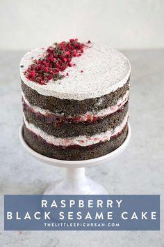 Raspberry Black Sesame Cake #cake #dessert #moderncake #recipe #blacksesame