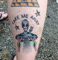 take me away travel alien tattoo space cool design idea dotting art tattoos Fake Tattoos, Leg Tattoos, Tattoos For Guys, Cool Tattoos, Tatoos, Alien Tattoo, Christmas Tattoo, Piercings, Tattoo Ideas