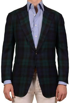 JAY KOS Blue Green Tartan Plaid Wool Peak Lapel Blazer Jacket EU 54 NEW US 44