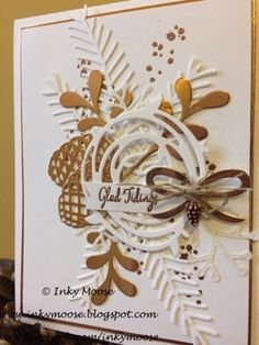 Stampin' Up! Christmas Pretty Pines and Swirly Scribbles in white and copper. So pretty!