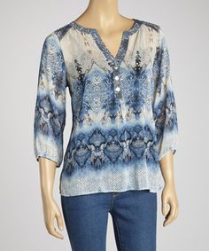 Take a look at this Denim Bohemian Button-Up by Figueroa & Flower on #zulily today!