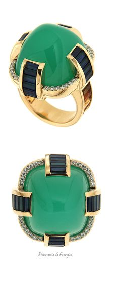 High Green Jewellery | TJS | Chrysophrase Citrine Sapphire Diamond Gold Cocktail Ring