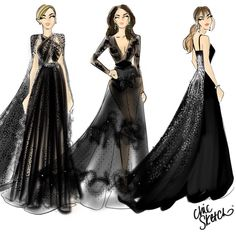 #TimesUp   #GoldenGlobes (from left to right) #DianeKruger, #CatherineZetaJones, and #Dakota Johnson @chicsketch #FashionIllustrations |Be Inspirational ❥|Mz. Manerz: Being well dressed is a beautiful form of confidence, happiness & politeness