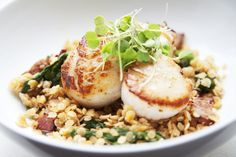seared scallops with red lentils and spinach