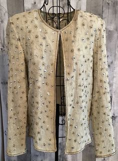 Papell Boutique Evening Sequin Beaded Embroidered Jacket Cardigan Top Size 10 #PapellBoutiqueEvening #Jacket