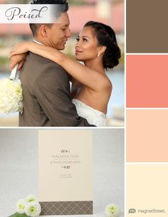 Latte Brown, Coral, Peach, and Pale Peach Fall Wedding Color Palette | Wedding Color Trends | MagnetStreet Weddings