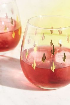 Wish I had some rosé today! | Metallic Cactus Stemless Wine Glass Set