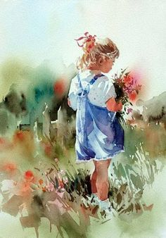 """""""Mommie's Bouquet"""" (Aidyn, the Artist's granddaughter) By Carl Purcell, from US (b.1944) (Primarily a Watercolor Painter) - watercolor on Arches 14o lb.; 14 x 11in. - http://www.carlpurcell.com/ https://www.facebook.com/carlpurcellartpage"""