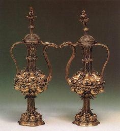 Liturgical Twin Kettles c. 1500 Gilt silver Hungarian National Museum, Budapest