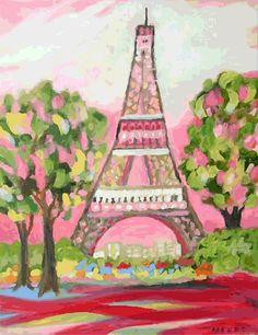 Pink Eiffel Tower Art Print by Karen por karenfieldsgallery