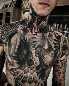 Guys, these tattoos are better than yours von Mark Wosgerau Black Ink Tattoos, Hot Tattoos, Black And Grey Tattoos, Body Art Tattoos, Full Chest Tattoos, Chest Piece Tattoos, Full Body Tattoo, Tattoo Sleeve Designs, Tattoo Designs Men
