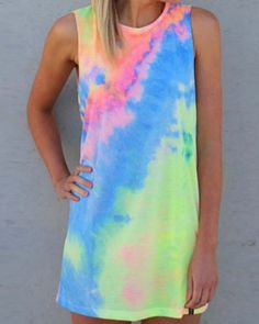 Stylish Round Collar Sleeveless Printed Colorful Women's DressPrint Dresses | RoseGal.com