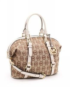ee3d6c89fa54 MICHAEL Michael Kors Whipped Large Zip-Top Monogram Tote with Beige Camel  Leather It s okay