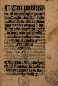 Een publicatie ende vercondighe gedaen van weghen des Conincklijcke Majesteits van Ingelant  - 1534