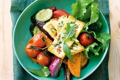 Add fresh flavours to your weeknight meal with this divine haloumi and roast vegie salad spiked with mint and chilli.