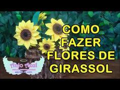 DIY Como fazer Flor de Girassol em EVA sem frisador - YouTube Make It Yourself, Diy, Youtube, Lala, Mary Kay, Sunflower Decorations, Sunflower Flower, Sunflower Party, Sunflower Crafts