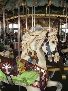 Beautiful horse on the carousel at Paragon Park in Hull MA.  Carousel looks nice and big!