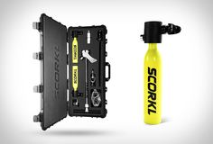 The Scorkl is a new device that offers 10 minutes of underwater breathing! The handheld device is basically a shrunk-down scuba tank with an attached breathing mouthpiece. Simply pump up the little yellow canister with its specially designed hand pum Scuba Diving Equipment, Scuba Diving Gear, Sea Diving, Cave Diving, Electronic, Snorkelling, Windsurfing, Water Sports, Kayaking
