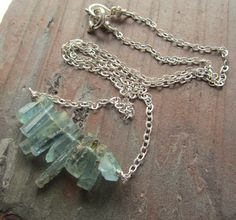 Natural aquamarine crystal necklace / rough gemstone jewelry / simple rustic jewelry