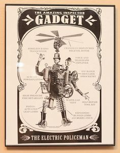 Inspector Gadget! Cute re-imagining. Now I want to see other cartoons, heroes, etc. steampunkified...