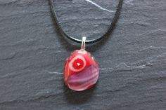 Glass Fused Pendant Red Lilac Millefiori by GlassJewelleryByJ