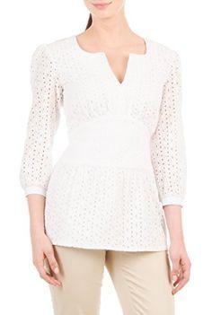eShakti Women's Floral eyelet cotton ruched empire blouse XS-0 Tall White eShakti http://www.amazon.com/dp/B010BHE0WK/ref=cm_sw_r_pi_dp_qlUMvb0F7JHPS