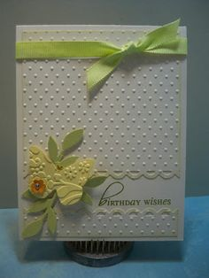 Yellow butterfly with embossed background - Little Scrap Pieces