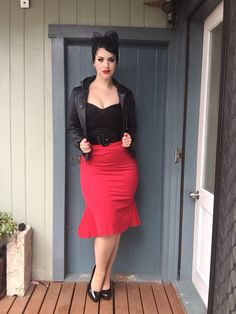 Miss Victory Violet  Vamp top & skirt & belt- @pinupgirlclothing..  Jacket- Cotton On