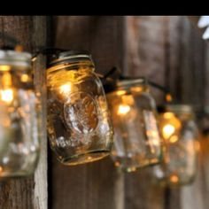 Mason Jar String Lights...Detach all the bulbs from the string lights first. Drill small holes through the lids, make sure the size of the hole is only big enough for the bottom portion of the light to fit through. Attach the bulb back on the other side of the lid and screw it back on top of the jar. Voila!