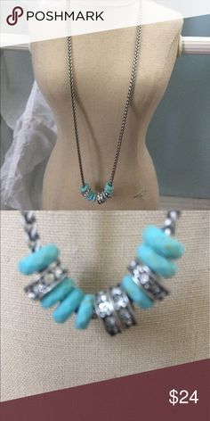 Brighton Turquoise and Silver Necklace Brighton Turquoise and silver necklace has just a tad of Turquoise and bling on a silver chain! Super cute! Brighton Jewelry Necklaces