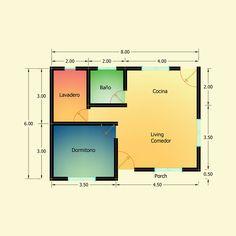 Planos de 1 Dormitorio – Constructora Sol del Plata Best House Plans, Small House Plans, Bar Chart, Home Goods, Floor Plans, How To Plan, Ideas, Sun, Manufactured Housing