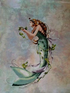 Queen Mermaid from Cassie - Stitched on Picture This Plus Carnival Cashel fabric