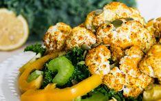 Turmeric Cauliflower and Kale Salad [Vegan] One Green PlanetOne Green Planet, Roasted Cauliflower with Herb Dressing « V. Delicious Vegan Recipes, Raw Food Recipes, Salad Recipes, Vegetarian Recipes, Healthy Recipes, Vegan Food, Healthy Foods, Keto Recipes, Tasty