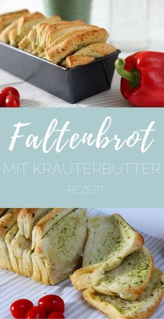 Faltenbrot mit Kräuterbutter – Rezept – pinselleicht – einfaches Hand Lettering… Pleated Bread with Herb Butter – Recipe – Easy on the Brush – Easy Hand Lettering for Everyone! Healthy Chicken Recipes, Crockpot Recipes, Dinner Crockpot, Bread Recipes, Quick Easy Meals, Healthy Dinner Recipes, Healthy Meal Prep, Easy Butter Recipe, Herb Butter