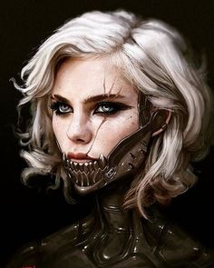 Her entire body was covered in the metal, except for a small part of her face from her lips up. A long scar ran across the left side, cascading over her eye and down past the metal jawline.