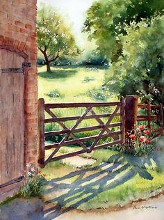 Farm Gate by Ann Mortimer #watercolorarts