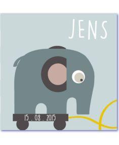 Een hippe geboortekaart met olifantje en de naam Jens. Prachtige grijze trek olifant aan een geel koordje en op een plateau van wieltjes