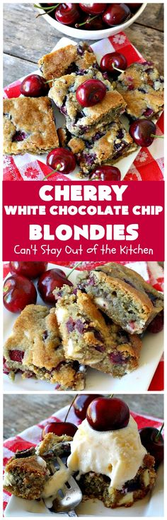 These amazing blondies are filled with white chocolate chips and fresh cherries. They're rich, decadent and absolutely heavenly. They make terrific treats for summer potlucks when fresh cherries are in season. Cherry Desserts, Cherry Recipes, Just Desserts, Delicious Desserts, Yummy Food, Chocolate Chip Blondies, White Chocolate Chips, Cherry Pie Bars, Cookie Recipes