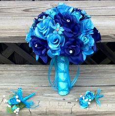 Silk Bridal Bouquet Blue Roses & Turquoise by SilkFlowersByJean, $65.00