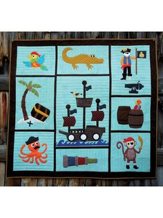 "Each block of this easy applique quilt contains oceans of fun, from the treasure island to the octopus first mate. Blocks can be made individually into pillows or wall hangings. Finished size is 47 1/2"" x 50 1/2""."